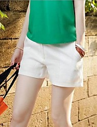 Women's Solid White Shorts Pants,Simple