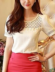 Women's Lace White Shirt , Round Neck Short Sleeve Lace