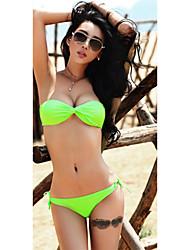 Mujeres Halter Pure Color Bikini