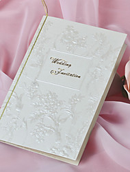 """No personalizada Doblado Lateral Invitaciones De Boda Tarjetas de invitación-50 Piezas / Juego Estilo Floral Papel perlado7 1/2 """"×6 1/4"""""""