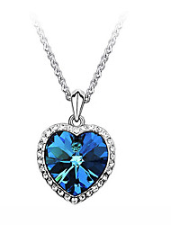 Women's Pendant Necklaces Zircon Cubic Zirconia Rhinestone Alloy Heart Fashion Blue Jewelry Party Daily Casual 1pc