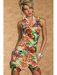 V Neck Floral Vestido sin mangas atractiva de las mujeres YSM