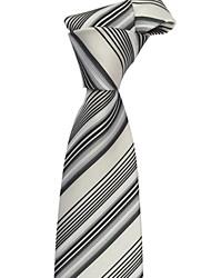 Homens Itália Estilo clássico Silver Grey Negócios Lazer Listrado Microfibra gravata