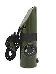 6-in-1 esterno multifunzionale di emergenza del fischio w / Compass / LED Flashlight / termometro - Verde