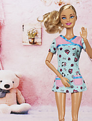 Barbie Doll Kind Cute Dog Pattern Sky Blue Slim Casual Dress