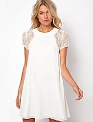 Women's Round Short Sleeve Loose Mini Dress