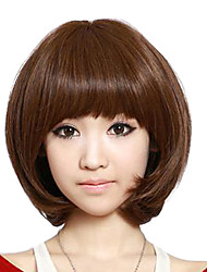 Short Curly Hair Light Brown Synthetic Full Bang Wigs