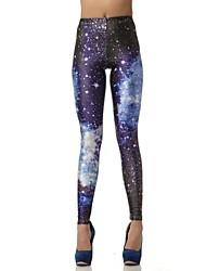 Pintura Elonbo Dazzling Star Universe Estilo Digital apertado Mulheres Leggings