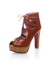 Leatherette Women's Chunky Heel Platform Sandals With Lace-up Shoes (More Colors)
