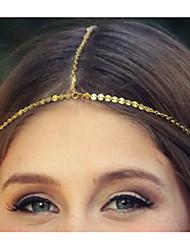 Ethnische Kette mit wenig Bling Dekoration Gold Alloy Stirnbänder für Frauen (1 Stk.)