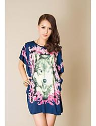Vestido de la flor de las mujeres más el tamaño de manga corta de impresión (modelo aleatorio)