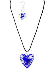 Sweet Heart-forme translucide acrylique (Colliers et boucles d'oreilles) Ensembles de bijoux en cristal (bleu, violet)