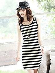 Women's Striped Multi-color Dress , Casual U Neck Sleeveless