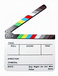 Acrylic Plastic Dry Erase Director's Film Clapboard (9.85x11.8 inch) with Color Sticks