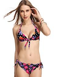 Women's Halter Bikinis , Floral Push-up/Wireless Nylon/Spandex Black