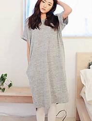 Women's Korean Style Vintage Loose Short Sleeve Long Dress