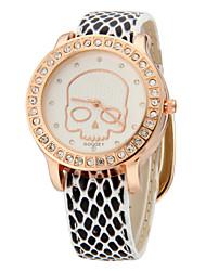 Crâne Motif de femmes Cas PU bande de montre-bracelet à quartz cristal (couleurs assorties)