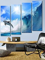 Stretched Canvas Art The Waves And Dolphins Set of 4