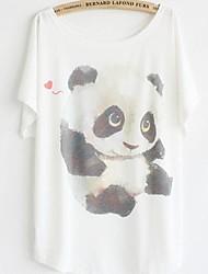 Kvinder round Loose Bat Sleeve kortærmet t-shirt