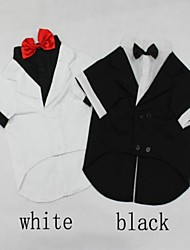 Black / White Wedding Mixed Material / Cotton T-Shirt / Tie For Dogs