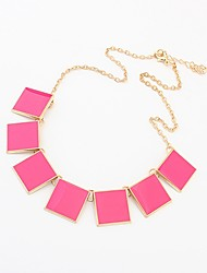 Shadela Square Print Fuchsia Fashion Necklace CX139-1