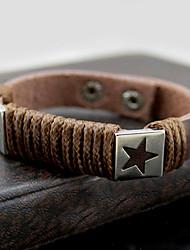 z&X® padrão de estrela do vintage pulseira de couro preto 25 centímetros dos homens (café, preto, branco, vermelho) (1 pc)