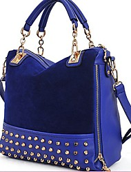 Erlen Women's Korean Style Rivet Chain Tote/One Shoulder/Crossbody Bag(Navy Blue)