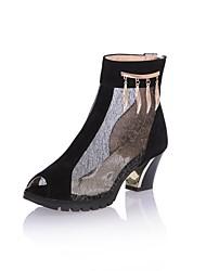 Tüll Damen Blockabsatz Peep Toe Fashin Mid-Calf Boots mit Metall Schuhe (weitere Farben)