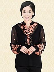 Women's Print Orange/Red T-shirt , V Neck Long Sleeve