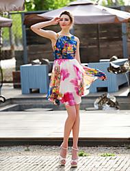 TS Asymmetric Hem Print Dress