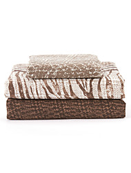 "Sheet Set,4-Piece Microfiber Stripe Dots Brown with 12"" Pocket Depth"