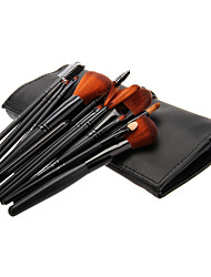 16PCS Wooden Handle Makeup Brush Set with Black Leatherette Pouch