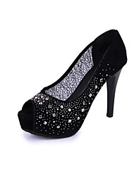 Lolid Women's Sexy Rhinestone Nightclub Fish Head Thin Heels Sandals P306