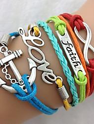 Foi, amour & Anchor Bracelet Antique Bracelet à breloques en argent