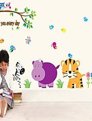 Мультфильм животных и стикеры стены вала