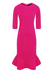 CD Bodycon рюшами Проверить платье (фуксия)-H0995