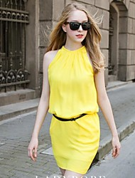 Women's Crew Neck Ruched Mini Dress , Chiffon/Others Black/Blue/Orange/Yellow Casual