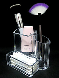 Acrylic Transparent 2in1 Cosmetics Storage Stand Makeup Brush Pot&Swab Box Cosmetic Organizer