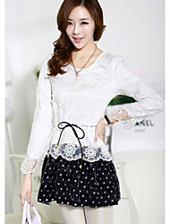 Sexy Lady Women's Korean Slim Fit Chiffon Lace Splice Dress(Pattern Randomly)(Purple,White)