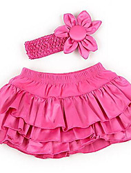 Girl's Ruffle PP Pants Skirt With  Flower Headband (suitable for baby 12-24 months)