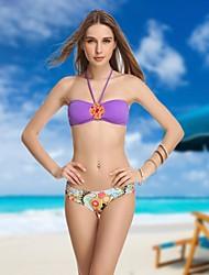 De VBM Mulheres de cristal violeta Vintage Bandeau Mais Sexy Bikinis Beach Wear Swimwear Natação Ternos Biquini