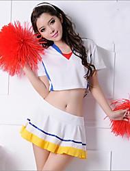 Attractive Girl White & Yellow Polyester 2014 Brazil World Cup Football Baby Cheerleader Uniform