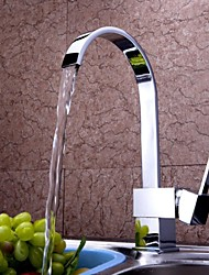 Personalized Waterfal Kitchen Faucet Contemporary Chrome Finish Brass Single Handle