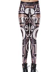 Elonbo Retro Letters Style Digital Painting Tight Women Leggings