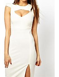 Женская Белый Вырежьте Бюст Midi платье с плеча деталях