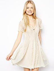 Women's Solid/Lace Beige Dress , Sexy/Lace Deep V Short Sleeve Pleated/Lace