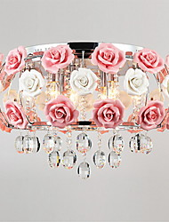 SL® Idyllic Modern Crystal 5 Light Pendant Decorated with Pink Flower