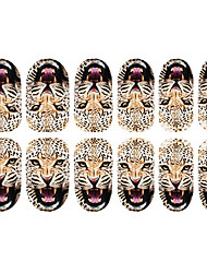 Motif 12PCS Cheetah Nail Art Stickers lumineux