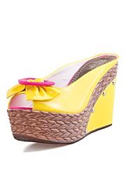 Damenschuhe - Sandalen - Kleid - Kunstleder - Keilabsatz - Wedges / Zehenfrei - Blau / Gelb / Weiß
