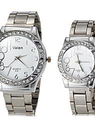 Caja del diamante de plata de acero banda de cuarzo reloj de pulsera de Pareja (colores surtidos)